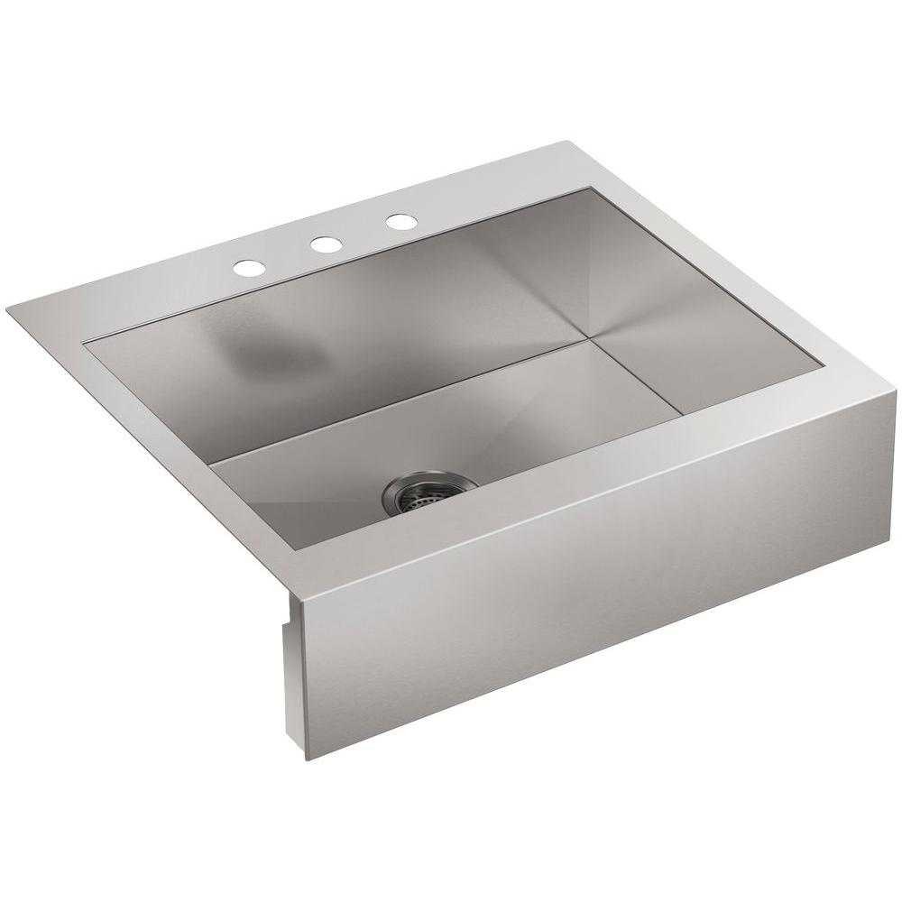 KOHLER Vault Drop-in Farmhouse Apron-Front Stainless Steel 30 in. 3 ...