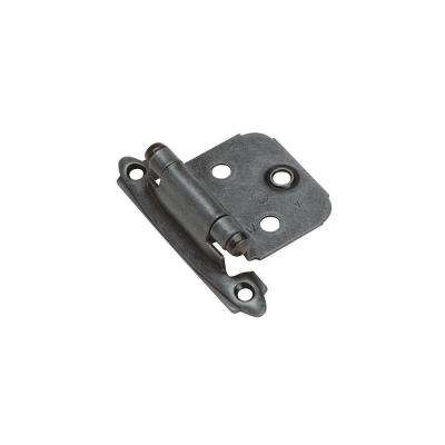 Variable Overlay Self-Closing, Face Mount Wrought Iron Hinge - 2 Pack