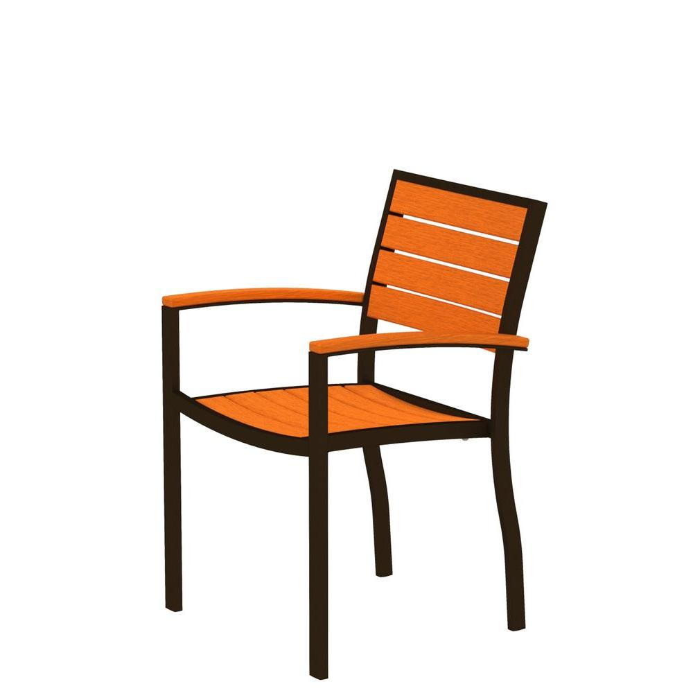 POLYWOOD Euro Textured Bronze All-Weather Aluminum/Plastic Outdoor Dining Arm Chair in Tangerine Slats