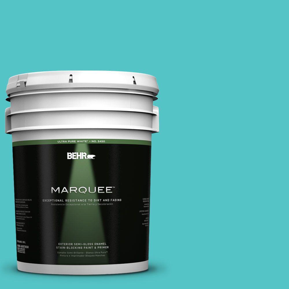 5-gal. #500B-4 Gem Turquoise Semi-Gloss Enamel Exterior Paint