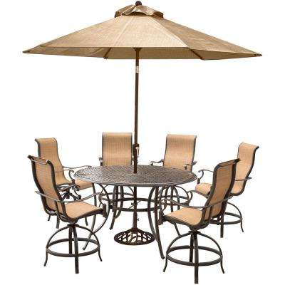 Manor 7-Piece Aluminum Round Outdoor High Dining Set with Swivels, Cast-Top Table, Umbrella and Base
