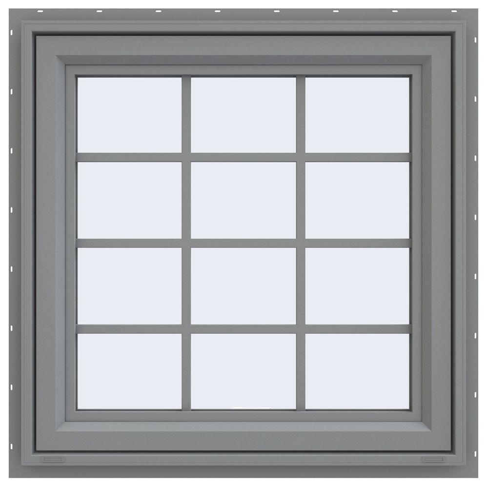 JELD-WEN 29.5 in. x 29.5 in. V-4500 Series Awning Vinyl Window with Grids - Gray