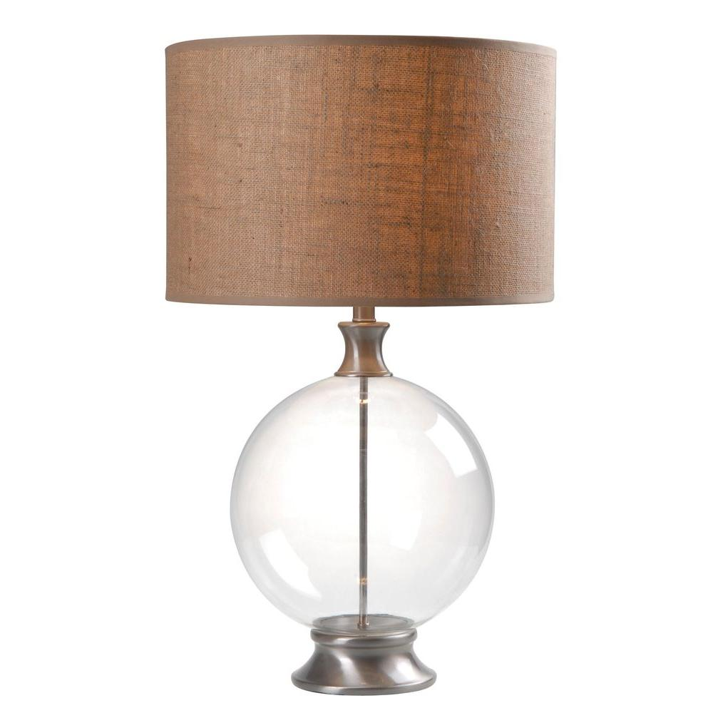 null Constellation 29 in. Glass with Brushed Steel Table Lamp
