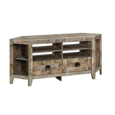 Granite 63 in. Cedar Engineered Wood Corner TV Console with 2 Drawer Fits TVs Up to 60 in. with Adjustable Shelves