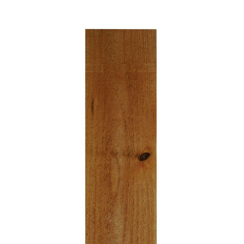 Pecan Stained Western Red Cedar Flat Top Fence Picket
