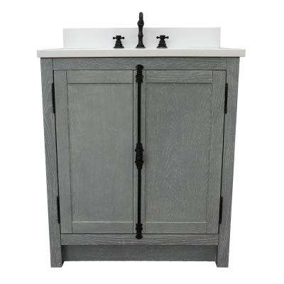 Plantation 31 in. W x 22 in. D Bath Vanity in Gray with Quartz Vanity Top in White with White Rectangle Basin