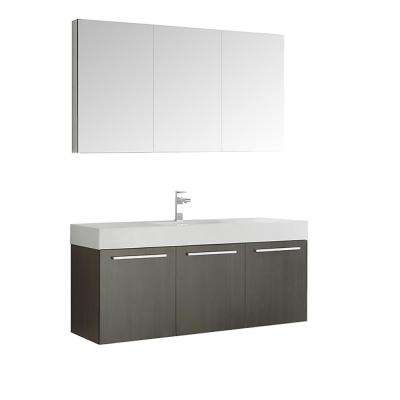 Vista 59 in. Vanity in Gray Oak with Acrylic Vanity Top in White with White Basin and Mirrored Medicine Cabinet