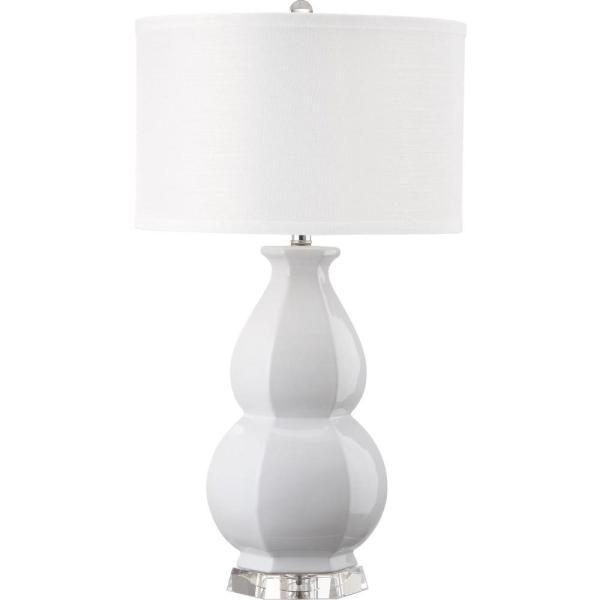 Juniper 30.25 in. White Double Gourd Ceramic Table Lamp with White Shade