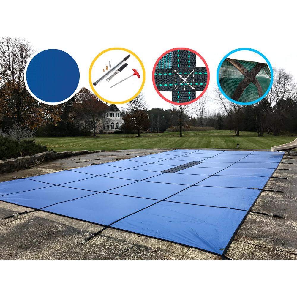 WaterWarden 20 ft. x 44 ft. Rectangle Blue Solid In-Ground Safety Pool Cover