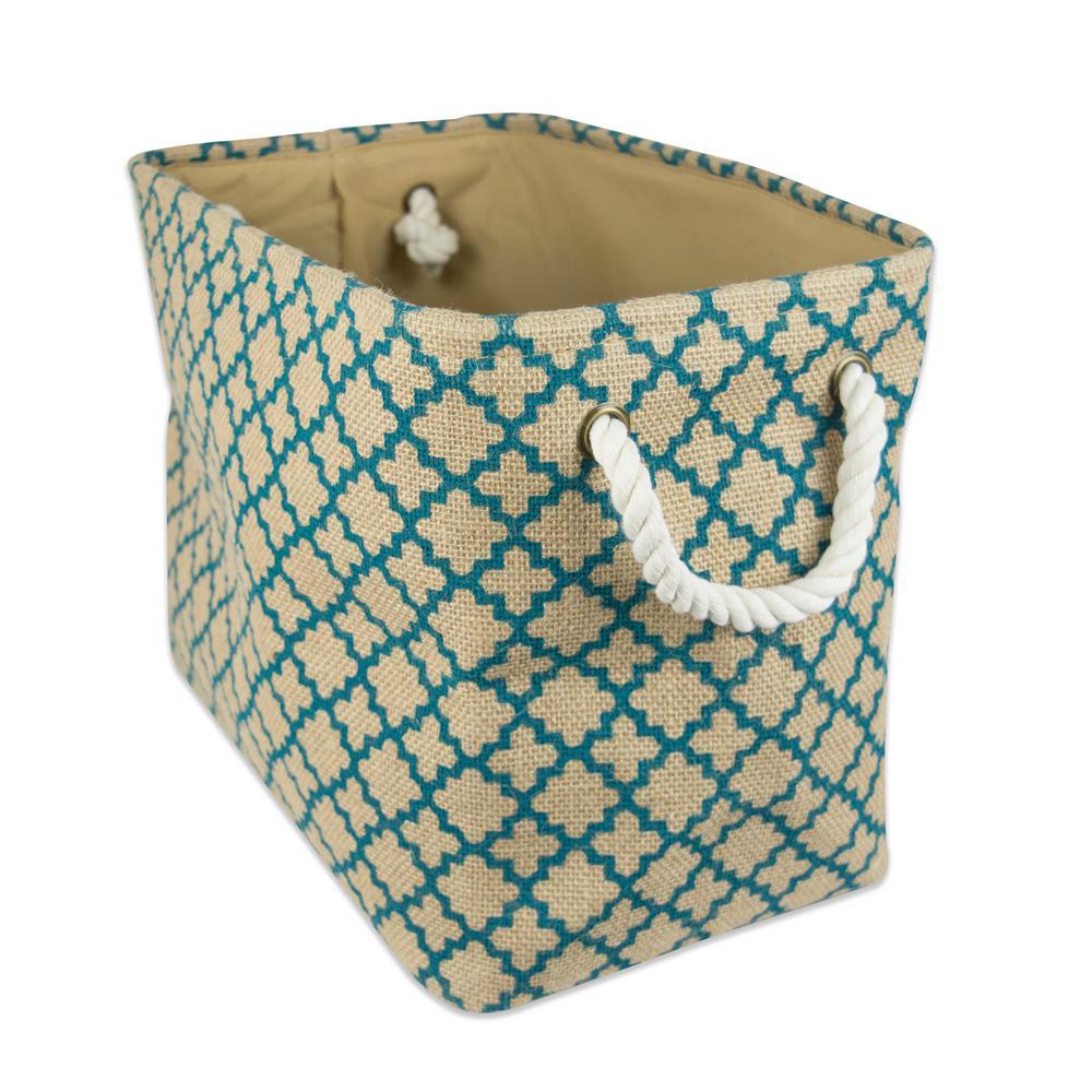 Rectangle Burlap Lattice Decorative Bin