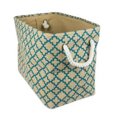 Rectangle Burlap Lattice Decorative Bin