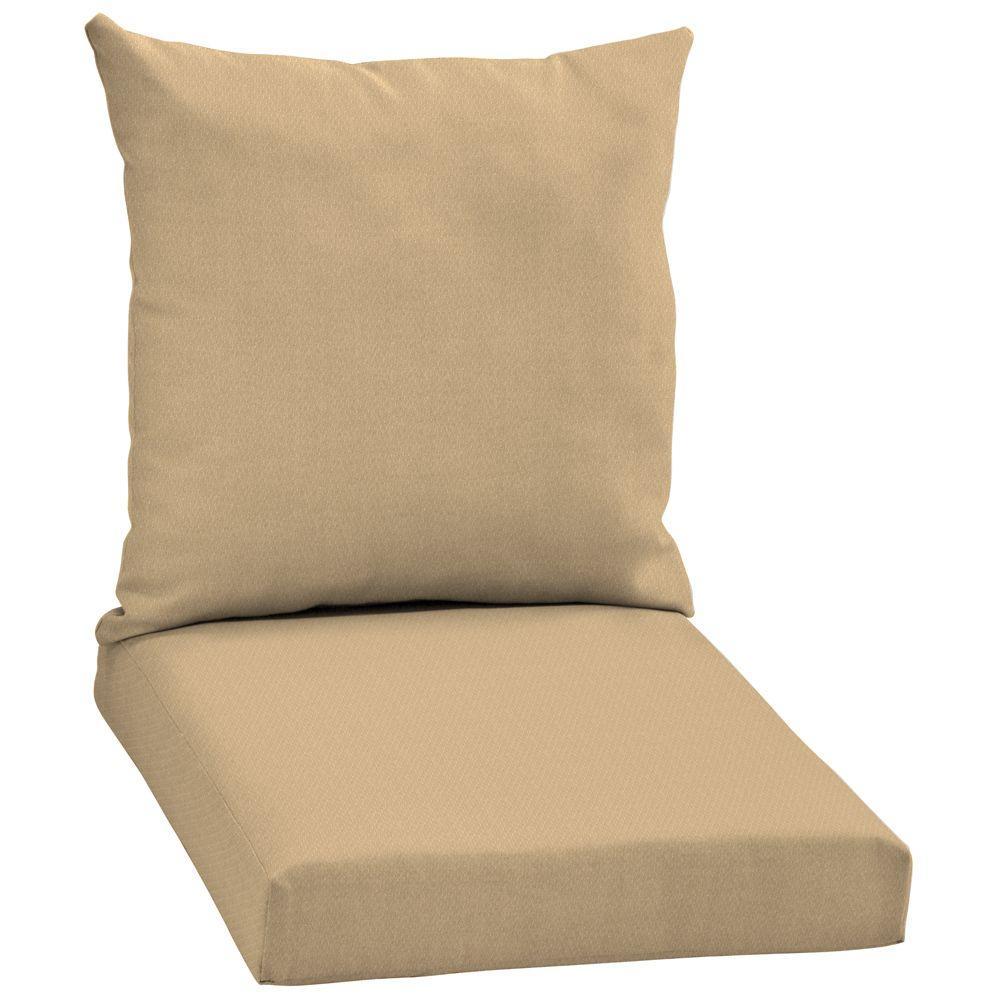 Arden Twilight Solid Khaki 2-Piece Outdoor Chair Cushion-DISCONTINUED