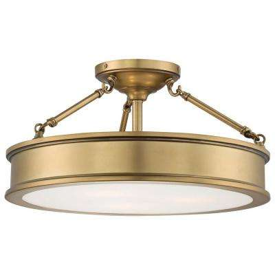 Harbour Point 3-Light Liberty Gold Semi-Flush Mount Light
