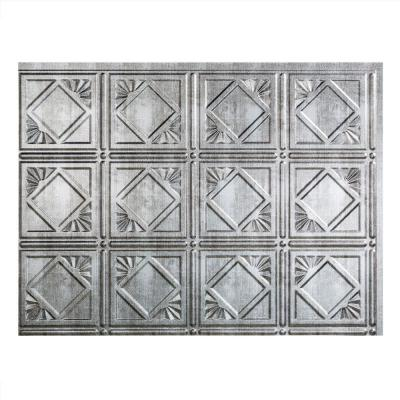 18.25 in. x 24.25 in. Crosshatch Silver Traditional Style # 4 PVC Decorative Backsplash Panel