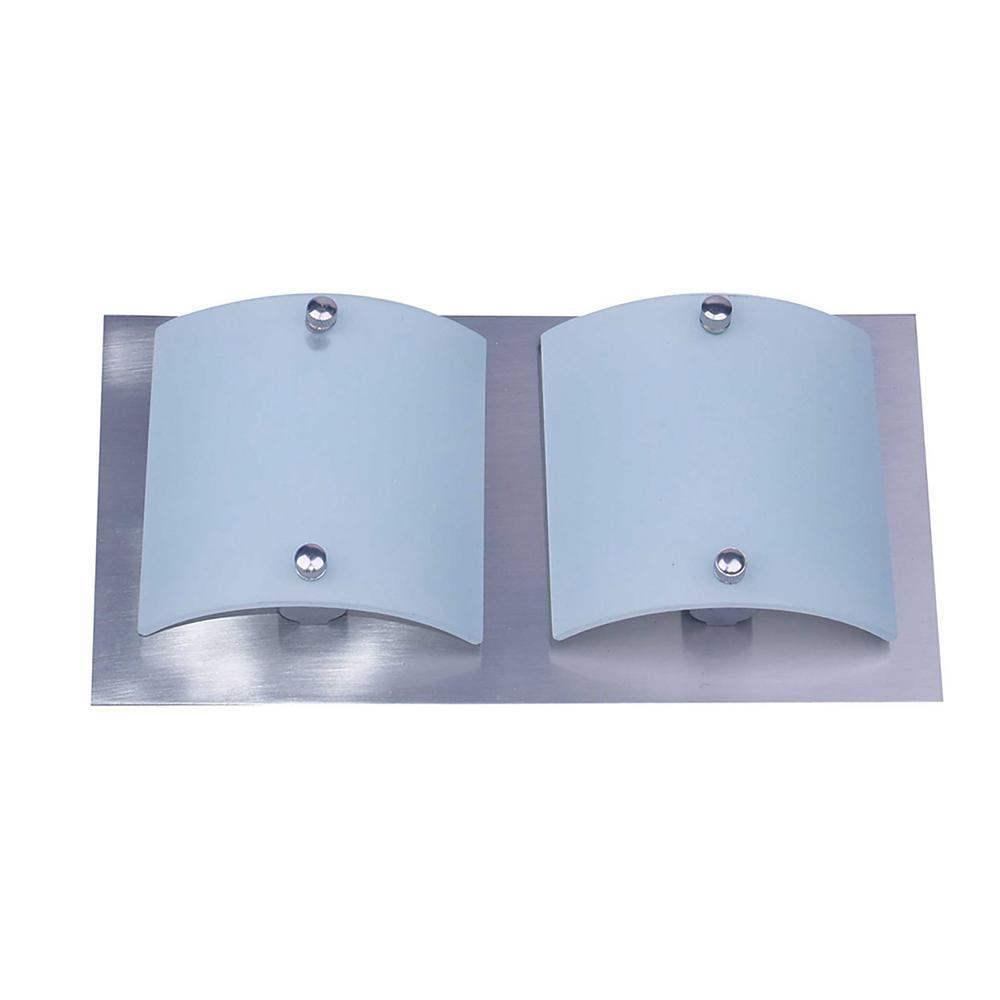 2-Light Satin Steel Bath Light