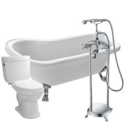 Pegasus 66.93 in. Acrylic Clawfoot Non-Whirlpool Bathtub in White with Tugela Faucet and Talos 1.6 GPF Toilet