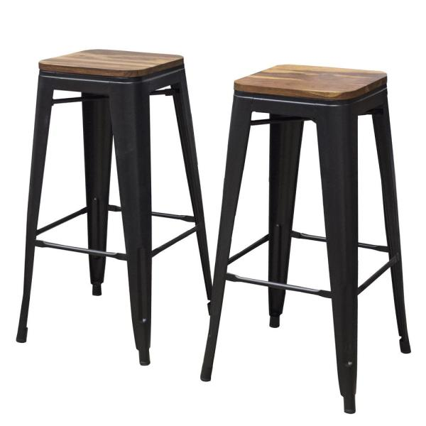 AmeriHome 30 in. Black Bar Stool Set with Rosewood Top (2-Piece)