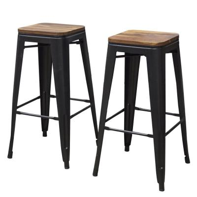 30 in. Black Bar Stool Set with Sheesham Top (2-Piece)