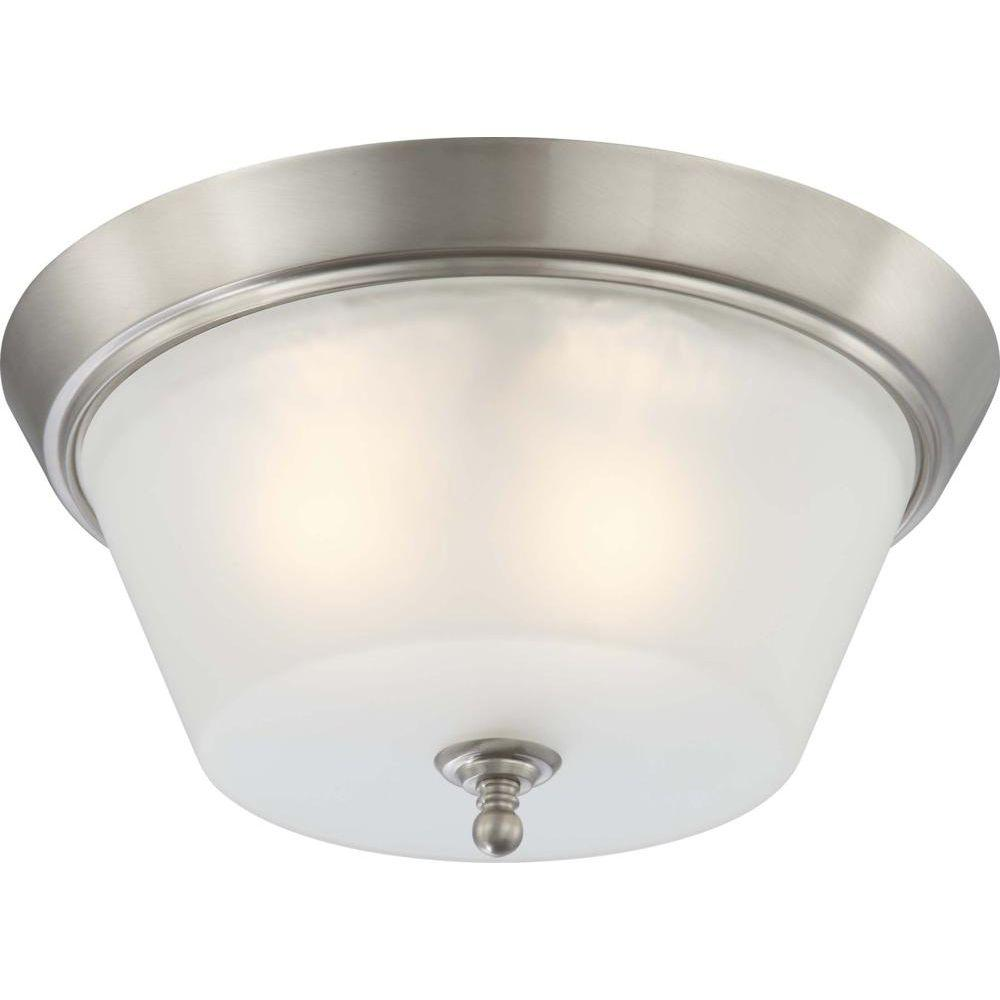 3-Light Brushed Nickel Flushmount Frosted Glass