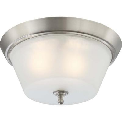 3-Light Brushed Nickel Flush Mount Frosted Glass