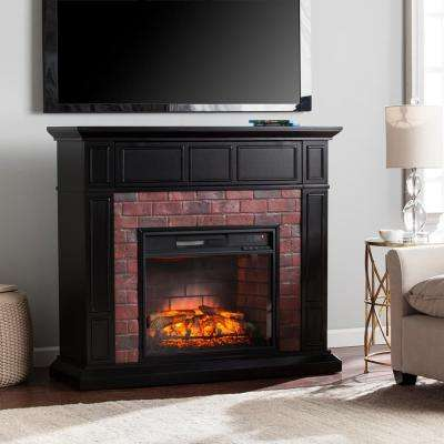 Utica 45.5 in. Faux Brick Infrared Media Electric Fireplace TV Stand in Satin Black