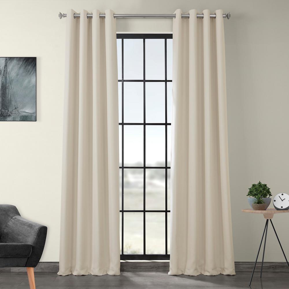 Birch Ivory Faux Linen Grommet Blackout Curtain - 50 in. W x 108 in. L