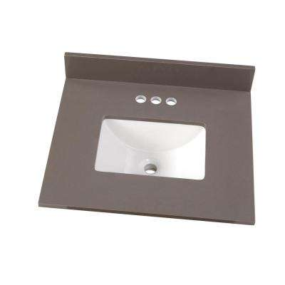 25 in. W x 22 in. D Engineered Marble Vanity Top in Slate Grey with White Single Trough Sink