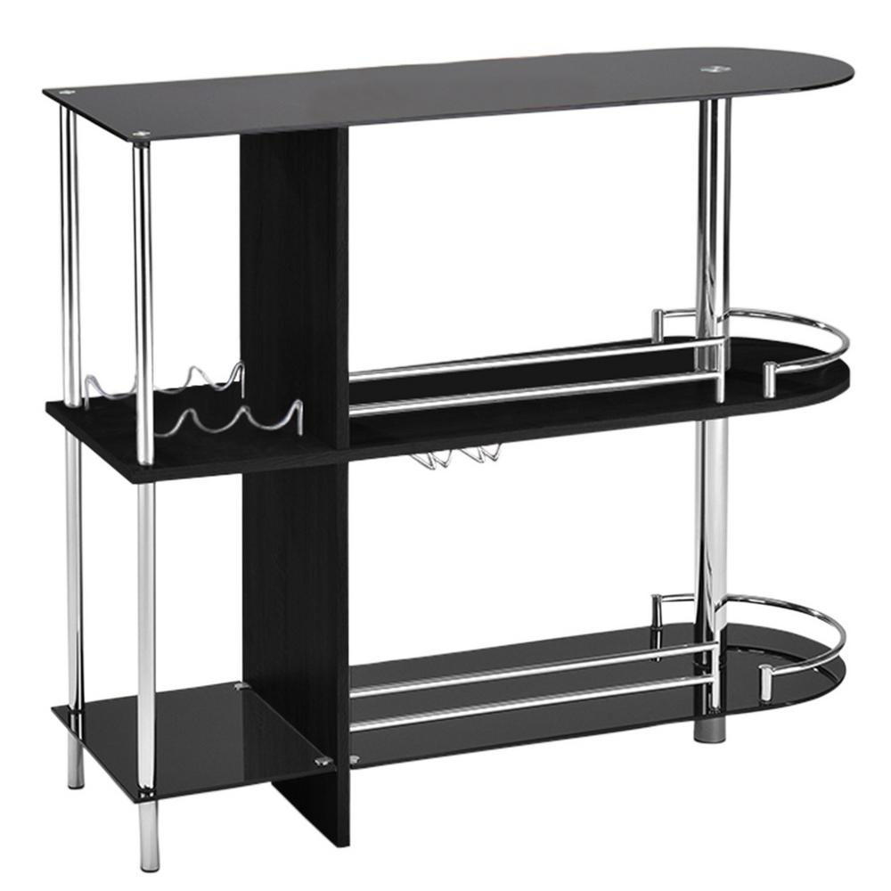 Black Glass and Wood Bar Table With 3-Shelves