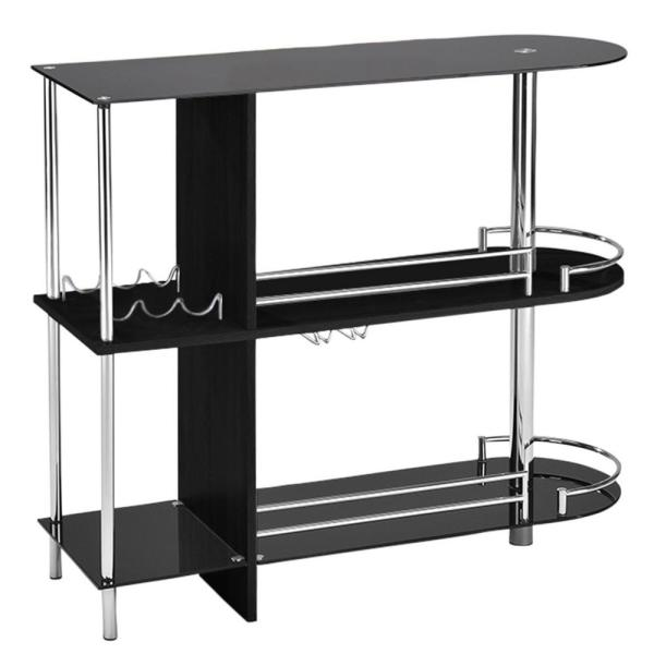 Kings Brand Furniture Black Glass and Wood Bar Table With 3-Shelves