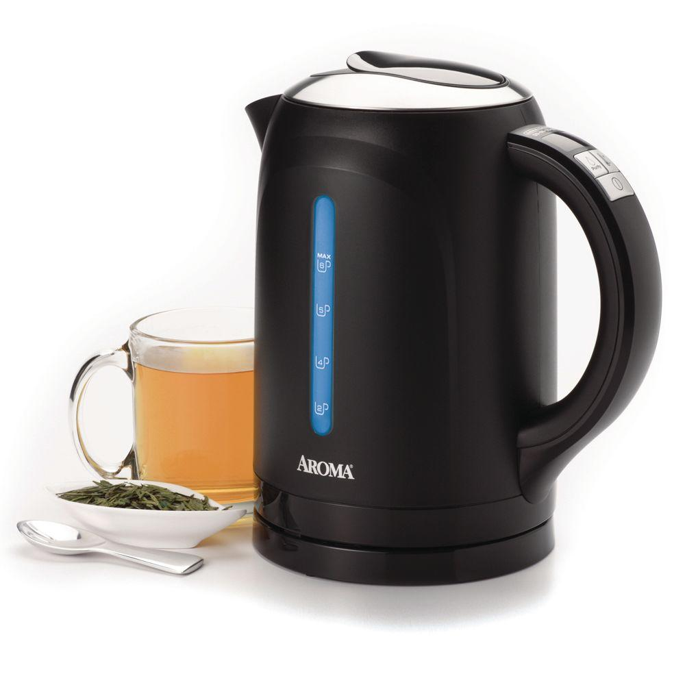 AROMA 6-Cup Digital Cordless Electric Water Kettle in Black