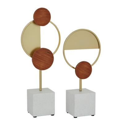 Litton Lane Neutral 15.25 in. and 19 in. Multi Colored Abstract Geometric Metal Sculptures (Set of 2), Gold