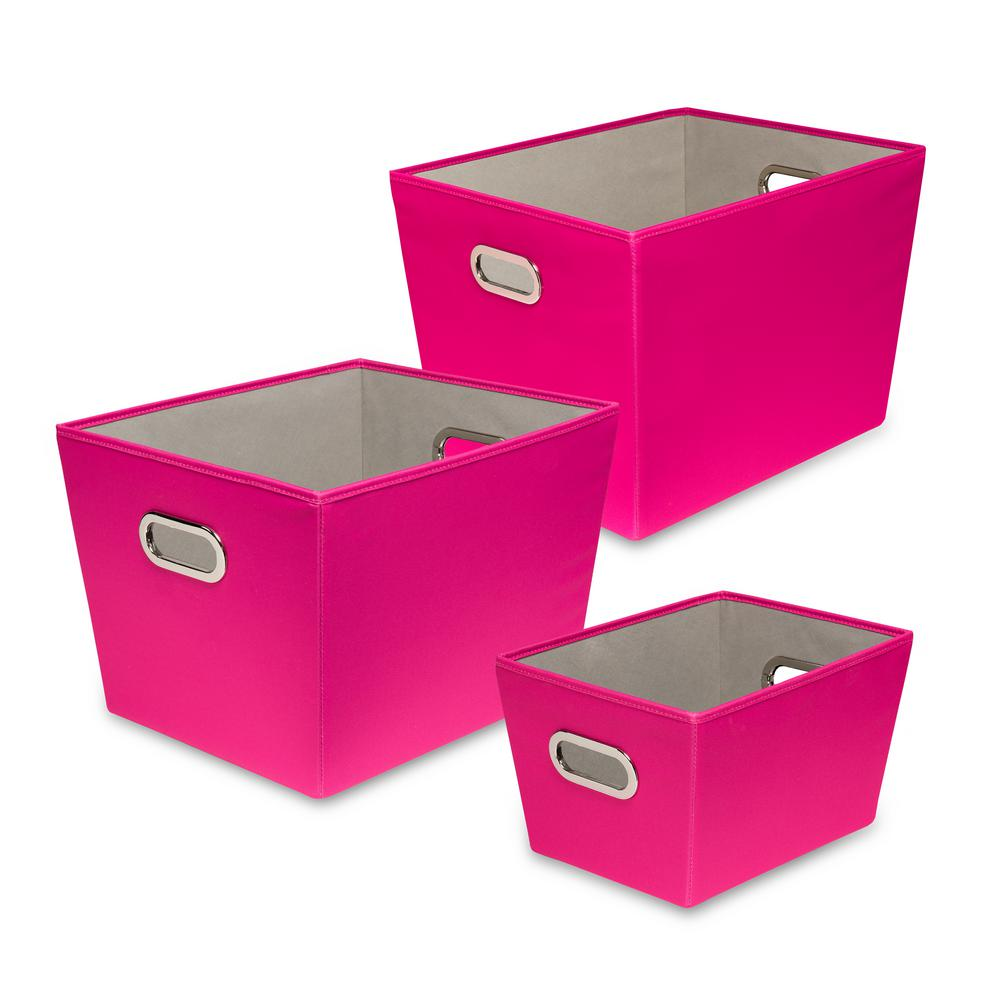 60 Qt. Pink with Copper Handles Canvas Tote (Set of 3)