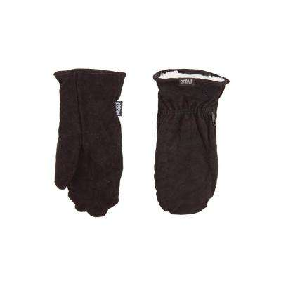 Large Black Leather Sherpa Lined Mittens