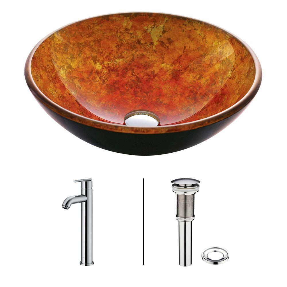 Vigo Vessel Sink in Livorno and Faucet Set in Golds