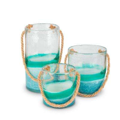 Glass Rope Handle Pails (Set of 3)