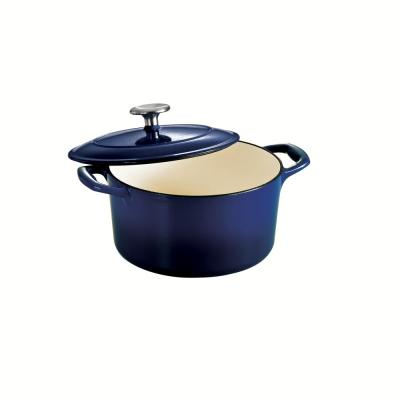 Gourmet 3.5 qt. Round Porcelain-Enameled Cast Iron Dutch Oven in Gradated Cobalt with Lid