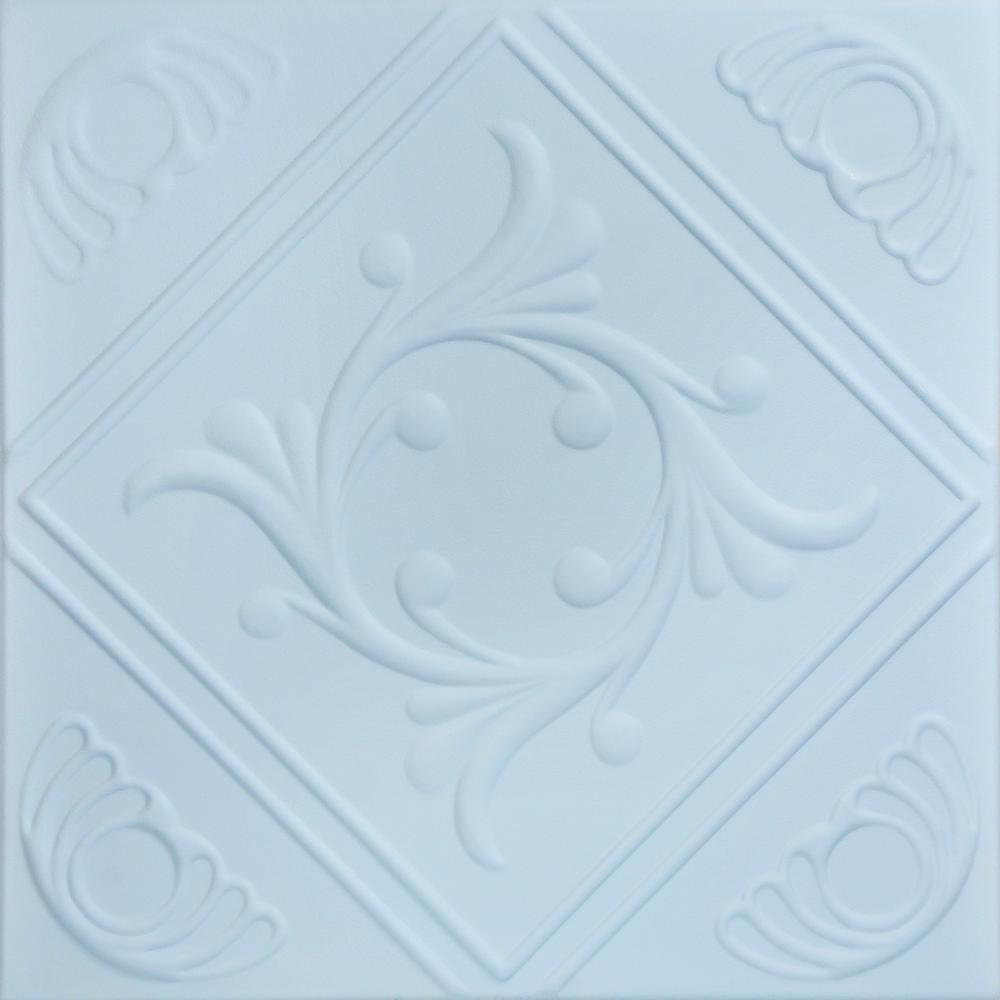 Diamond Wreath 1.6 ft. x 1.6 ft. Foam Glue-up Ceiling Tile in Breath of Fresh Air