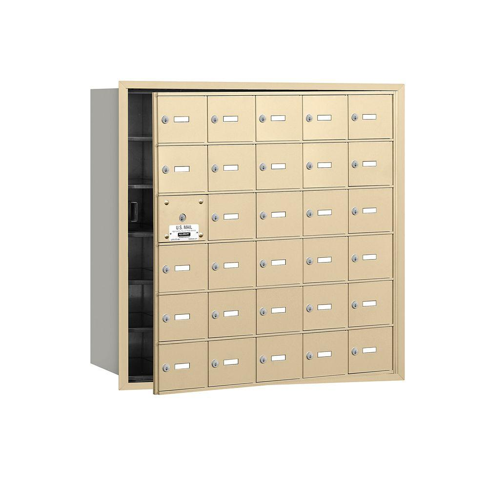 Salsbury Industries 3600 Series Sandstone Private Front Loading 4B Plus Horizontal Mailbox with 30A Doors (29 Usable)