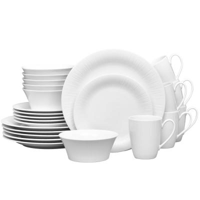Conifere 24-Piece Casual white Porcelain Dinnerware Set (Service for 6)