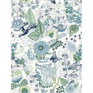 8 in. x 10 in. Whimsy Blue Fauna Wallpaper Sample