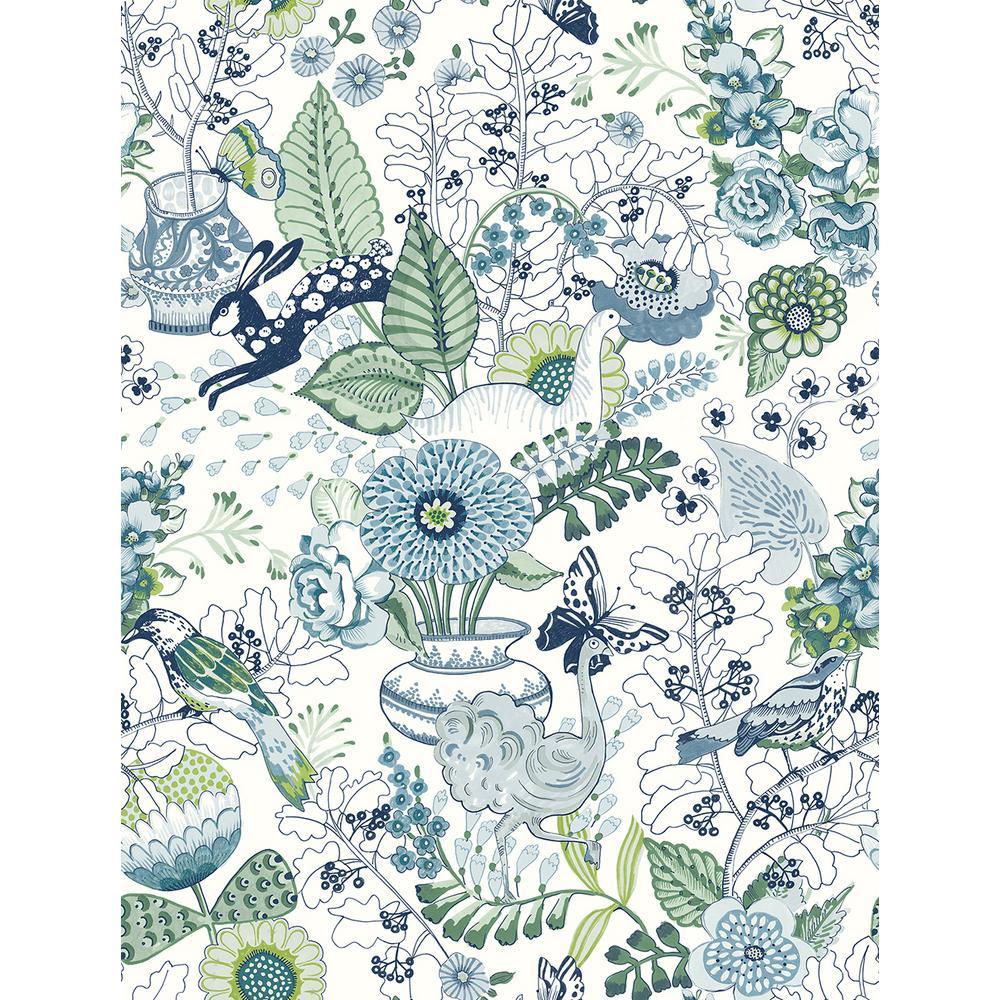 Whimsy Blue Fauna Blue Wallpaper Sample