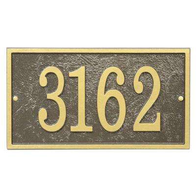 Fast and Easy Rectangle House Number Plaque, Bronze/Gold