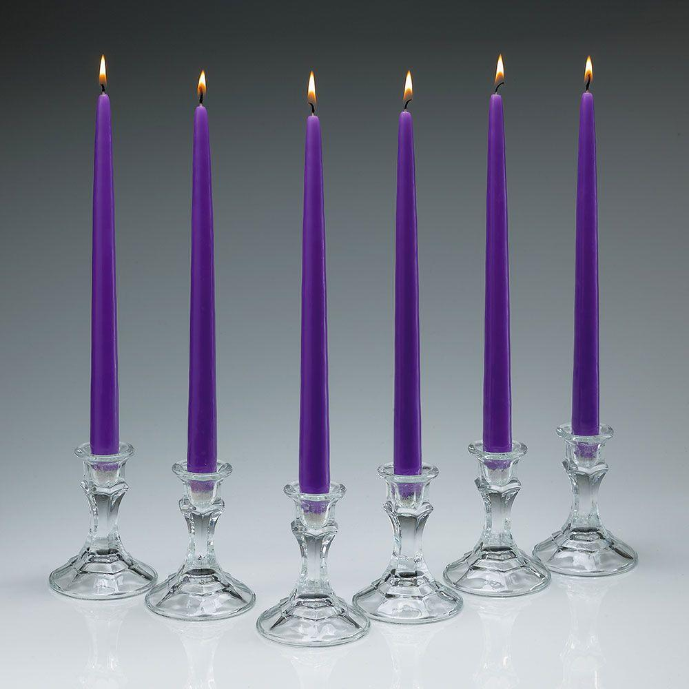 12 in. Tall 3/4 in. Thick Elegant Lavender Unscented Taper Candles