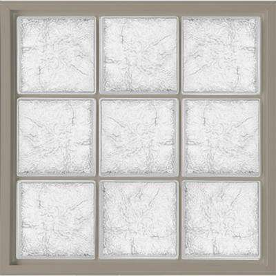 31.5 in. x 31.5 in. Glass Block Fixed Vinyl Windows Driftwood, Ice Pattern Glass - Driftwood