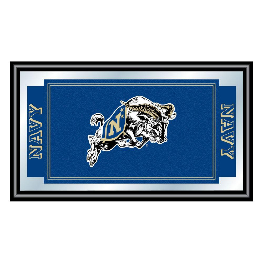 Trademark United States Naval Academy 15 in. x 26 in. Black Wood Framed Mirror