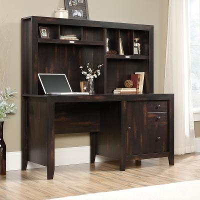 59 in. Rectangular Char Pine 3 Drawer Writing Desk with Hutch