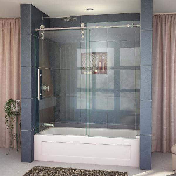 DreamLine Enigma-Z 55 to 59 in. W x 62 in. H Frameless Sliding Tub Door in Brushed Stainless Steel