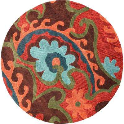 Wavy Floral Mocha/Rust 6 ft. Round Area Rug