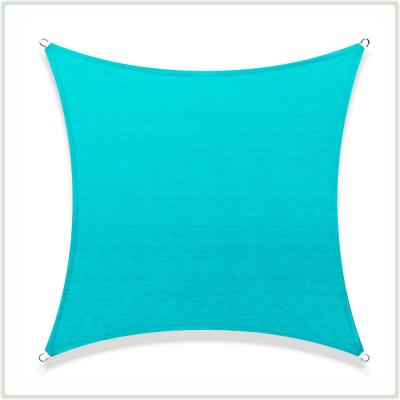14 ft. x 14 ft. 190 GSM Turquoise Square Sun Shade Sail Screen Canopy, Outdoor Patio and Pergola Cover