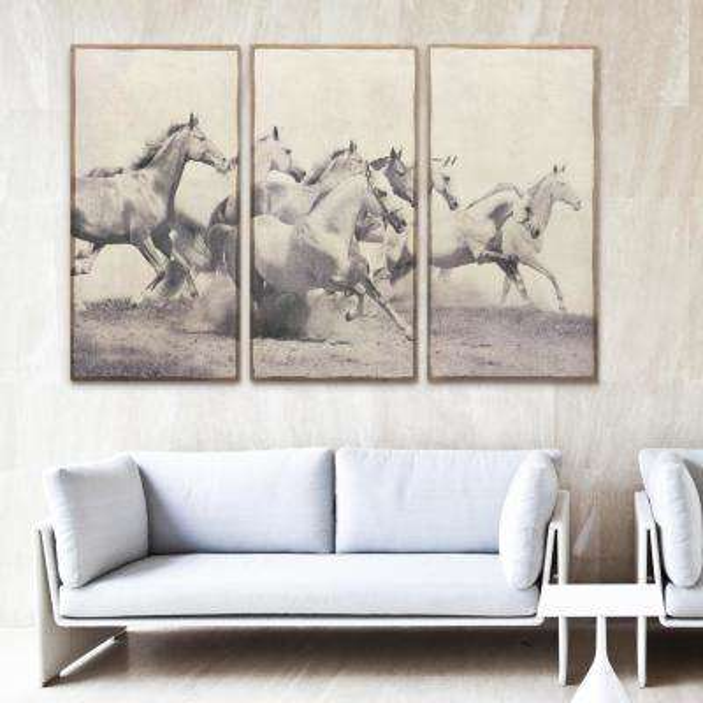 "48 in. x 24 in. ""Stampeding Herd"" 3 Piece Digital Print on Fresco Jute Wall Art"